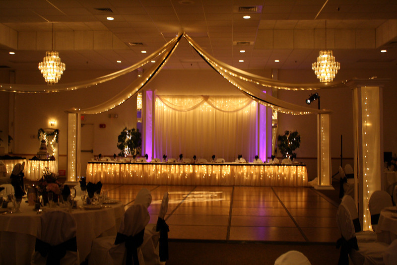 Dance Floor Lighted head table with lighted dance canopy