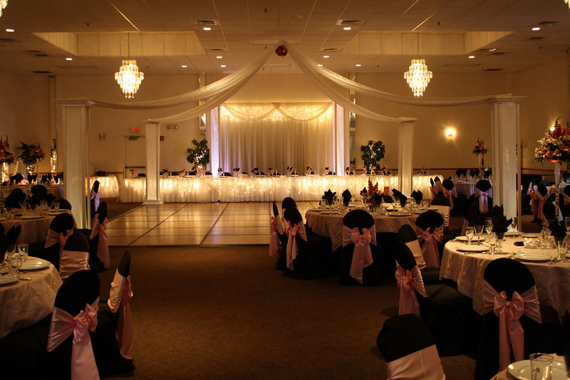 Head Table and Dance Canopy This black and pink wedding was lovely with a