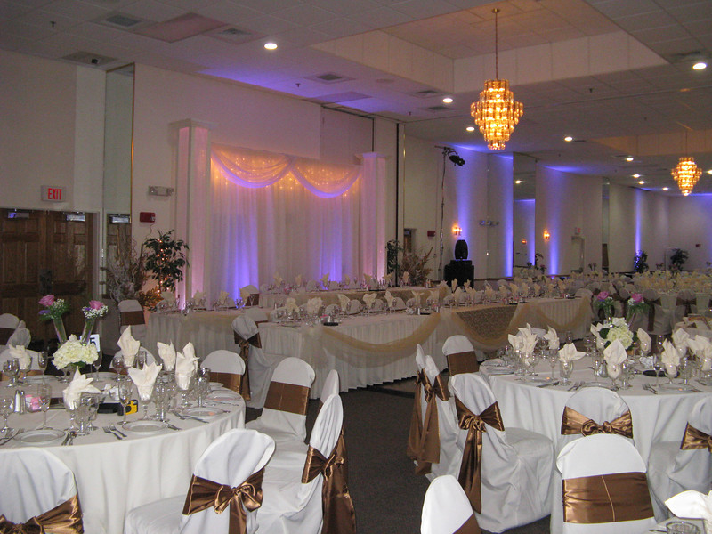 Lavendar and Gold Wedding Notice the huge head table