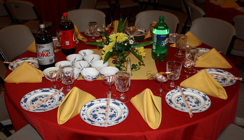Red and Gold Vietnamese Wedding Here is a guest table after the caterer