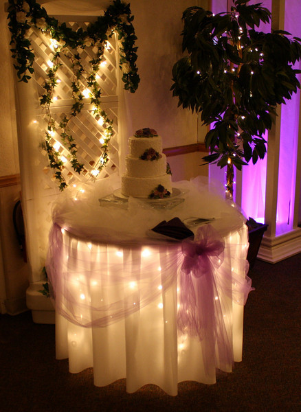 Lavender and Purple Wedding Cake Table with Lavender tulle and a white