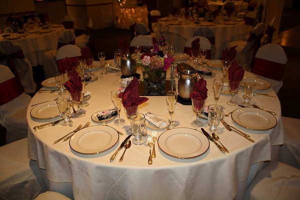 mjdecorations Burgundy and Ivory Wedding Guest Tables with Ivory linen