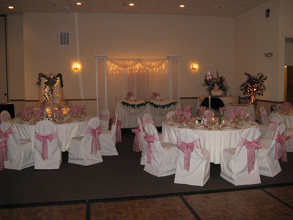 Rose Pink Wedding- Decorated Head Table, Backdrop and Lighted Cake Table.