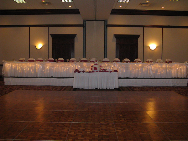 Raspberry Cinderella Wedding Lighted and Decorated Head Table